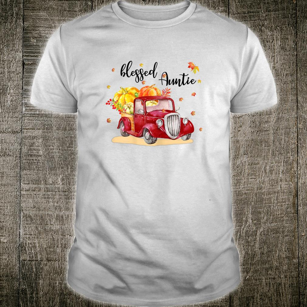 Blessed Auntie Red Truck Holding Pumpkin Fall Autumn Shirt