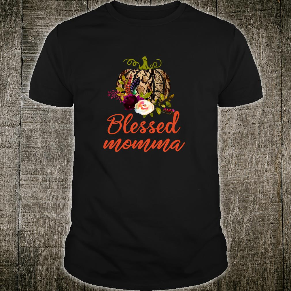 Blessed Momma Pretty Floral Autumn Thanksgiving Shirt