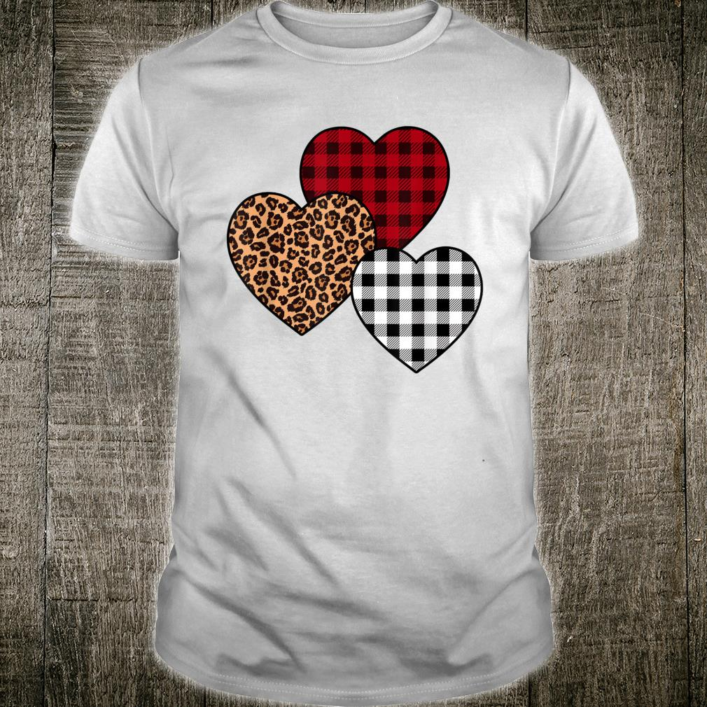 Buffalo Plaid & Leopard Hearts Happy Valentine Shirt