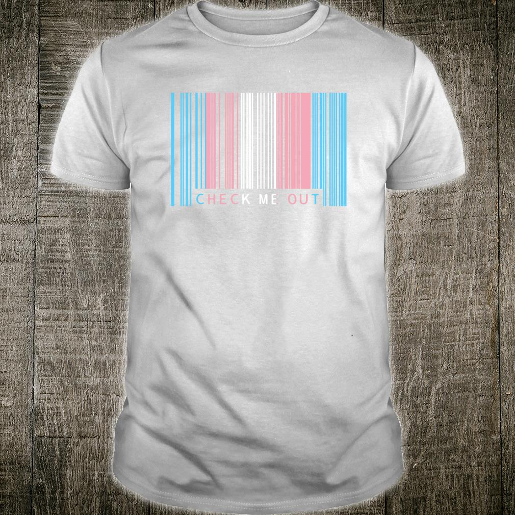 Check Me Out Transgender Pride Flag Barcode Design Shirt