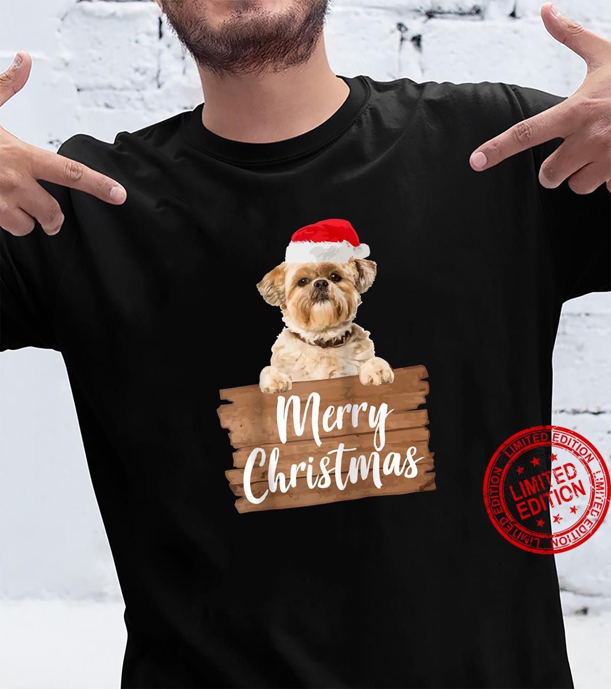 Christmas Dog Shih Tzu Santa Hat Shirt