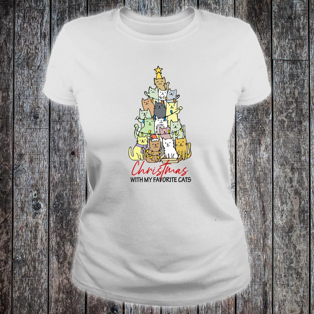 Christmas With My Favorite Cats Cats Xmas Shirt ladies tee