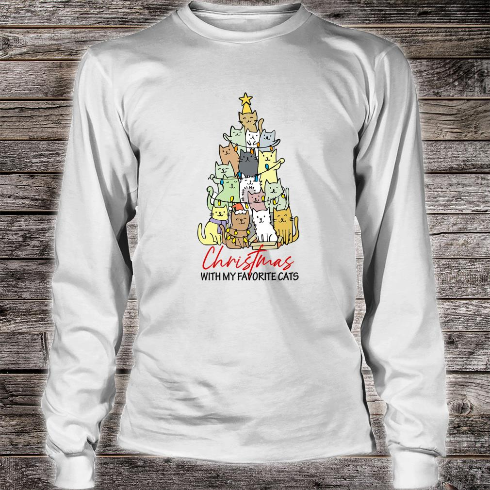 Christmas With My Favorite Cats Cats Xmas Shirt long sleeved