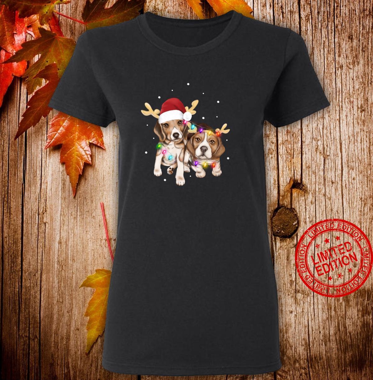 Cute Christmas Beagles Santa Hats Reindeer Dog Owner Shirt ladies tee