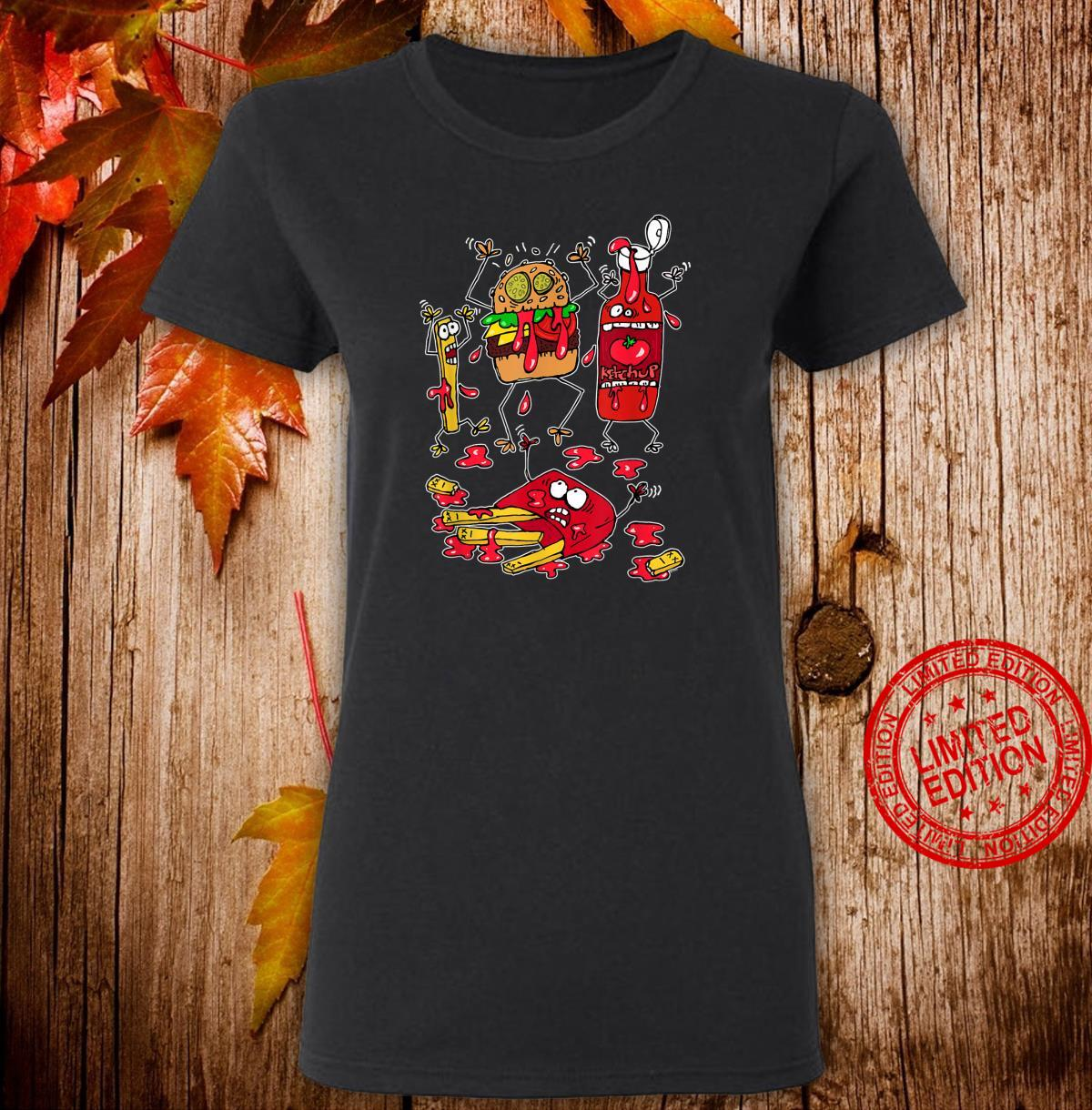 Don't Worry, it's Just Ketchup Crazy Food Fight Shirt ladies tee