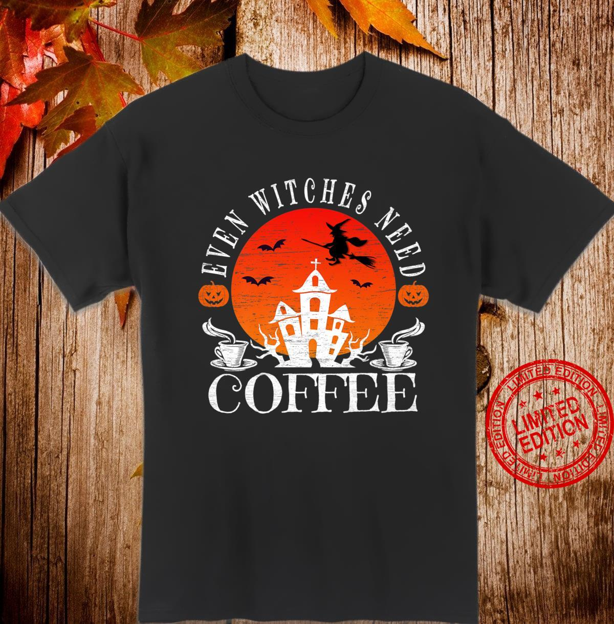 Even Witches Need Coffee Halloween Witch Brewing Shirt