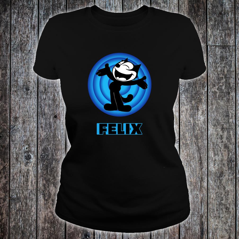 Felix a Cartoon Cat Arms Outstretched Blue Vintage Retro Shirt ladies tee