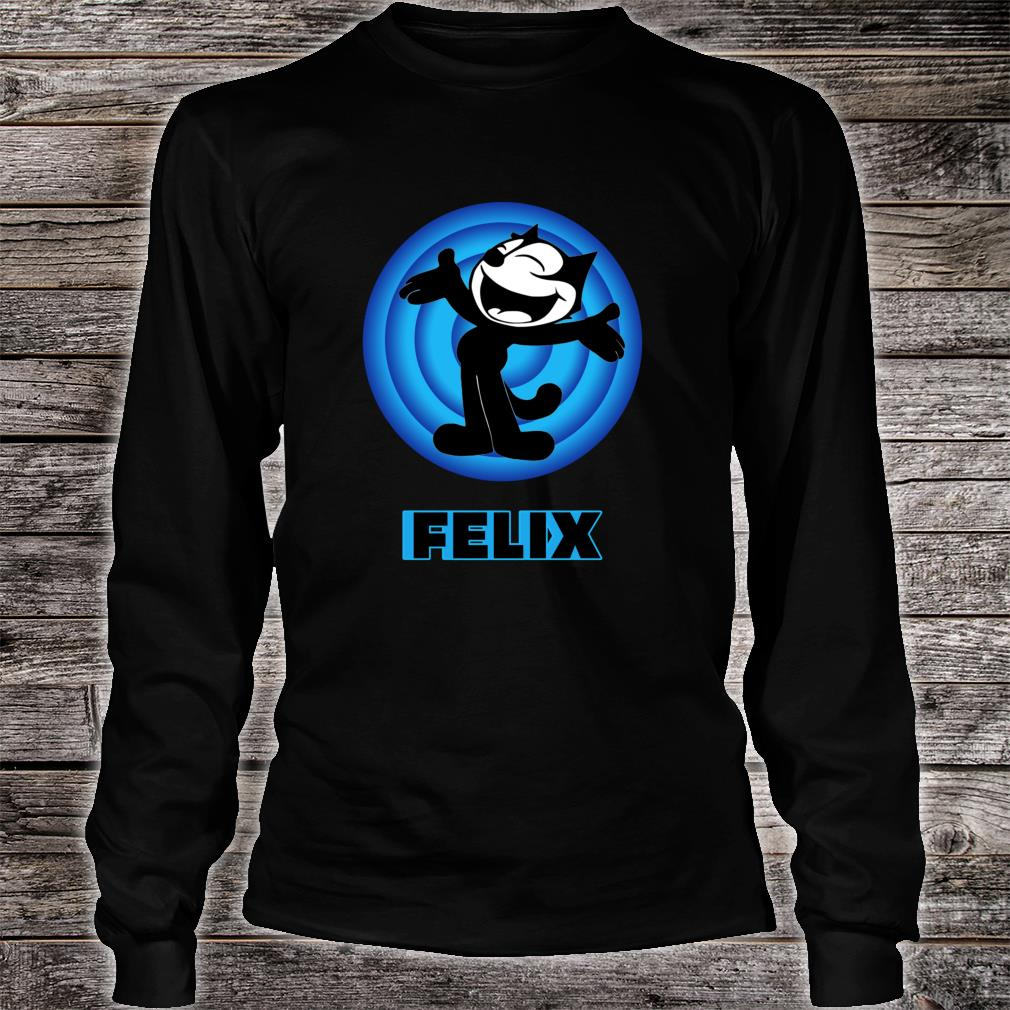 Felix a Cartoon Cat Arms Outstretched Blue Vintage Retro Shirt long sleeved