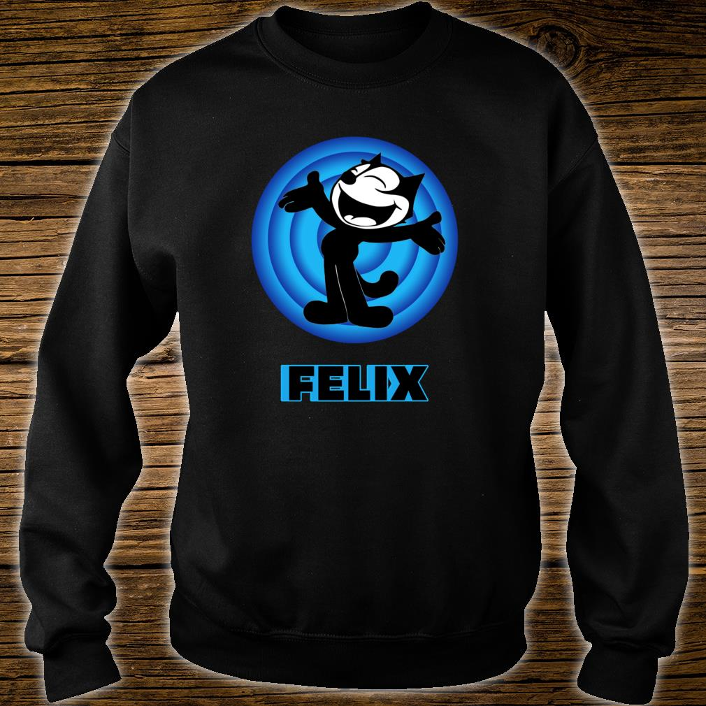 Felix a Cartoon Cat Arms Outstretched Blue Vintage Retro Shirt sweater