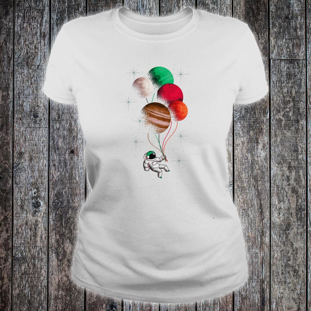 Flying Astronaut Space Theme Planets Shirt ladies tee