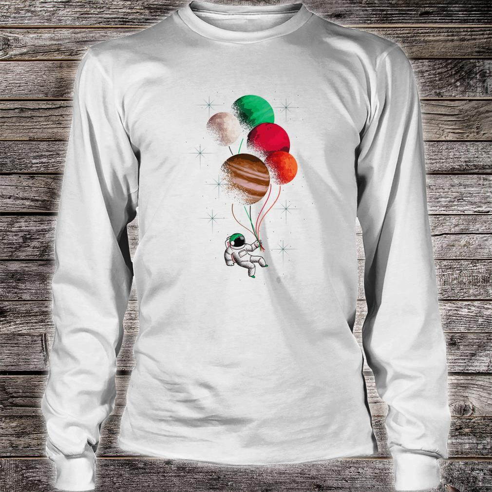 Flying Astronaut Space Theme Planets Shirt long sleeved