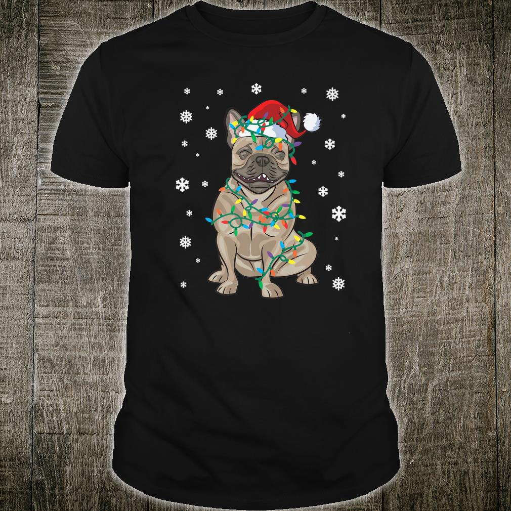 Frenchie French Bulldog Wrapped In Christmas Lights Dog Shirt