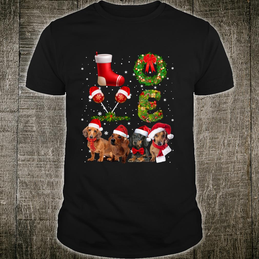Funny Dachshund In Sock Christmas Tee Dogs Shirt