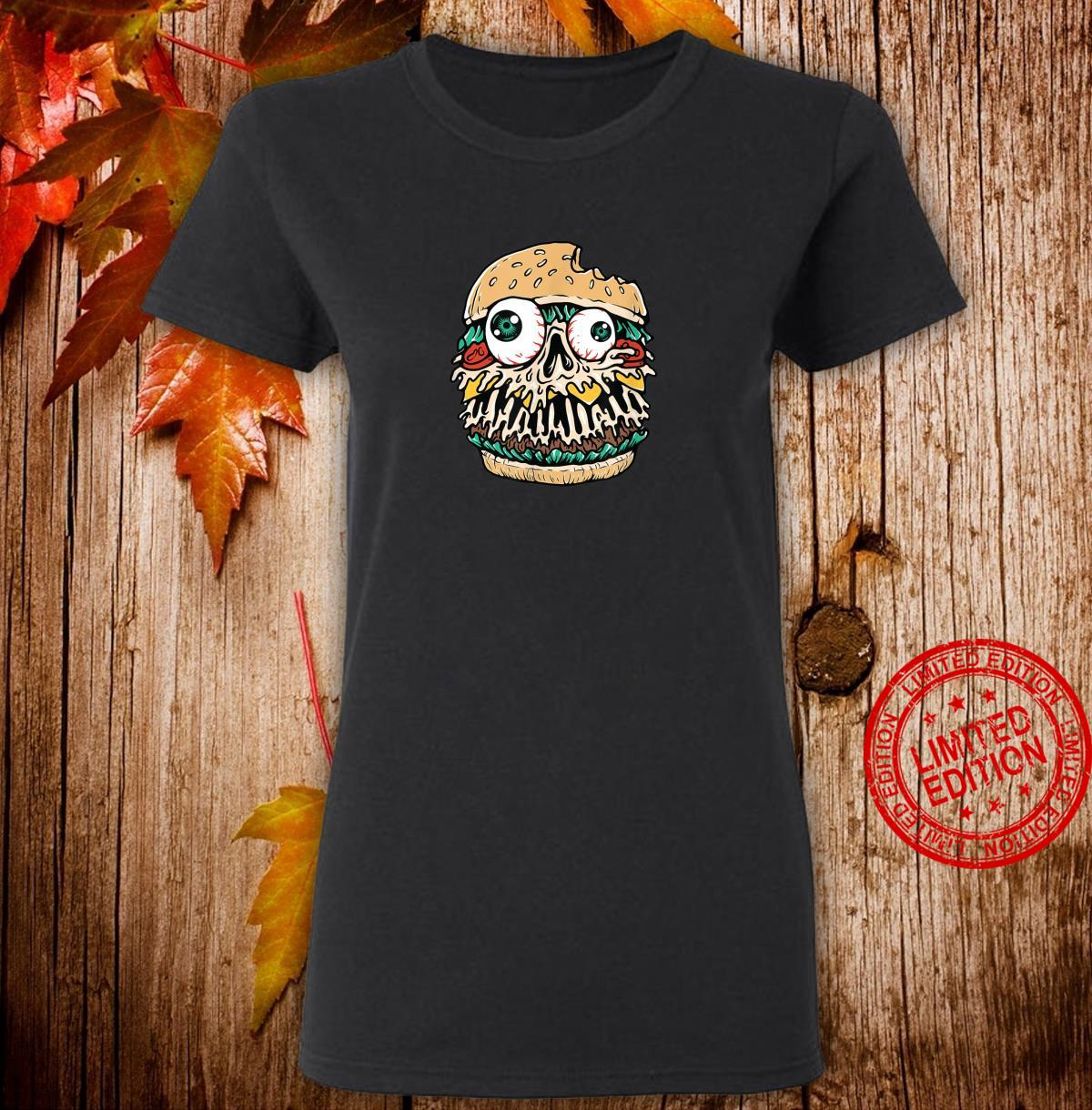 Halloween Scary Monster Food Hamburger Shirt ladies tee