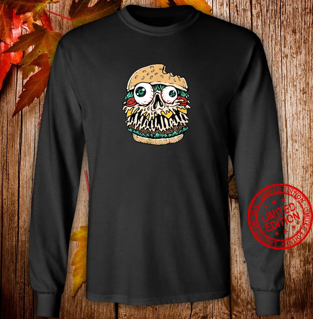Halloween Scary Monster Food Hamburger Shirt long sleeved