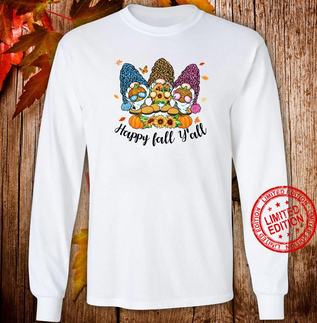 Happy Fall Y'all Gnome Leopard Pumpkin Autumn Gnomes Shirt long sleeved