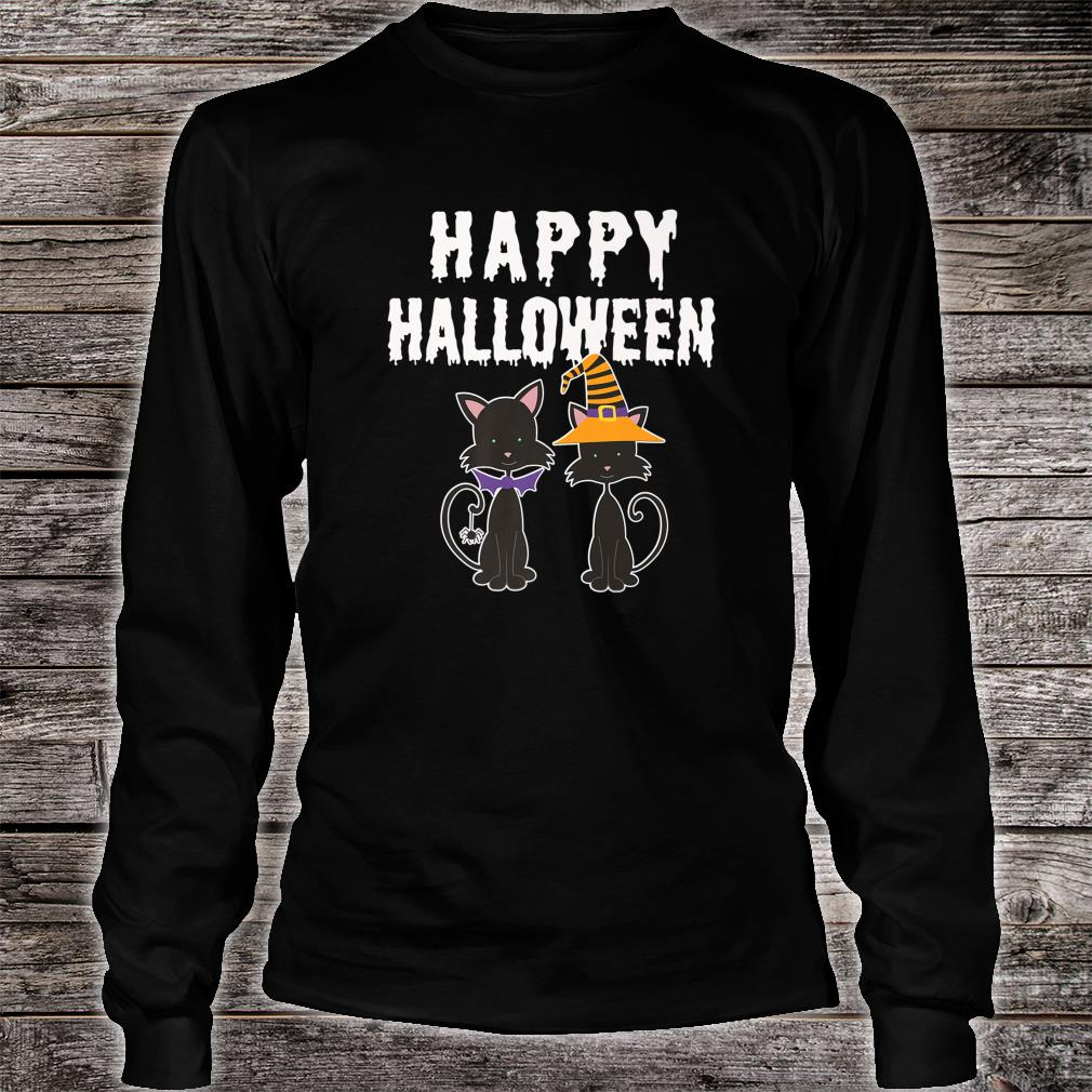 Happy Halloween Black Cat Witch Scary Costume Shirt long sleeved