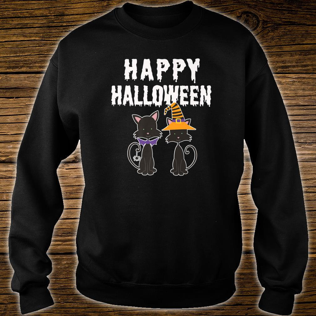 Happy Halloween Black Cat Witch Scary Costume Shirt sweater