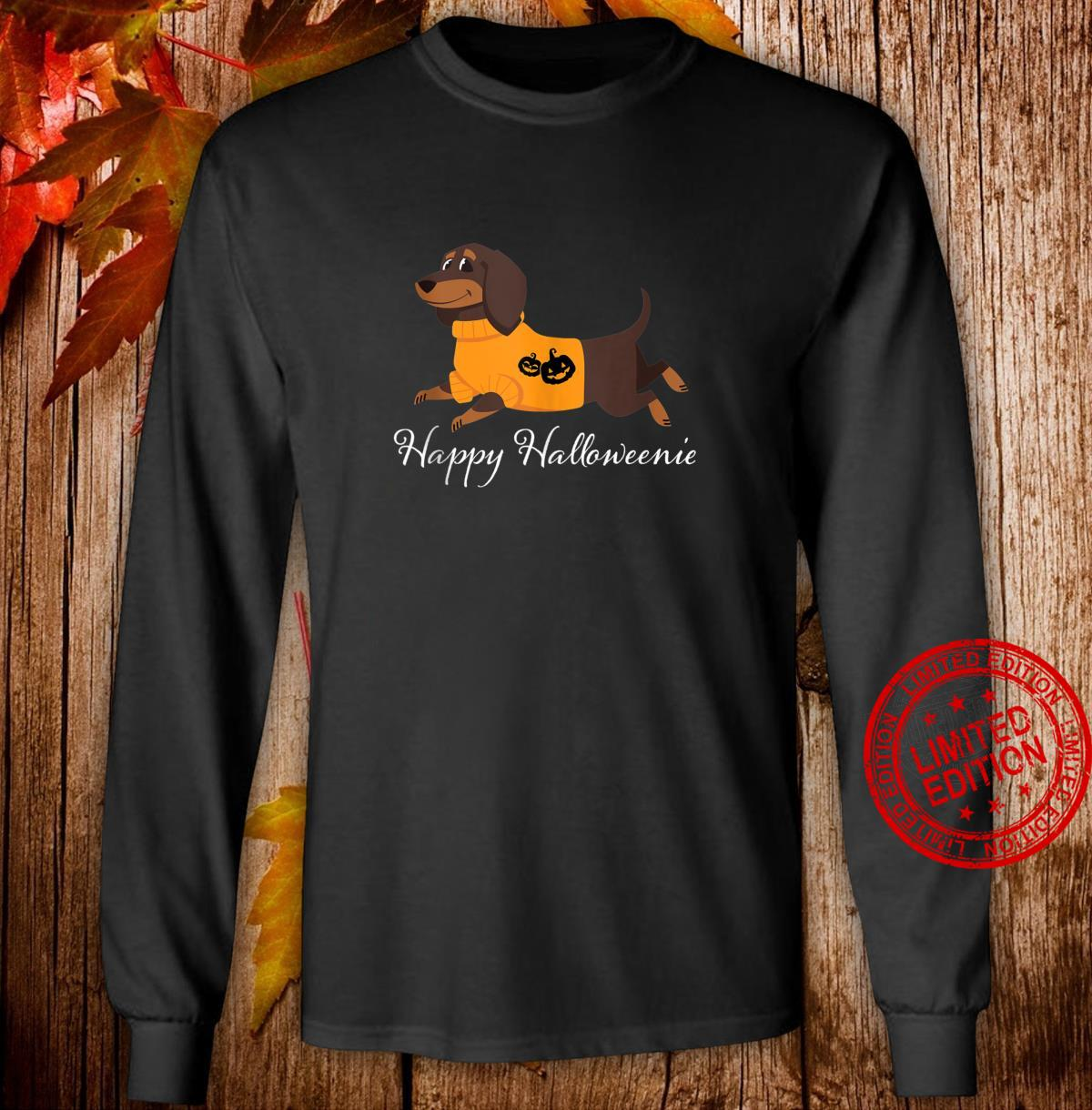 Happy Halloweenie Dachshund Halloween Shirt long sleeved