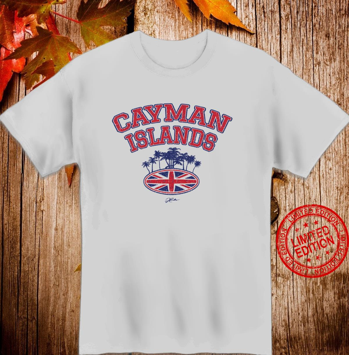 JCombs Cayman Islands, with Palm Trees and Union Jack Shirt