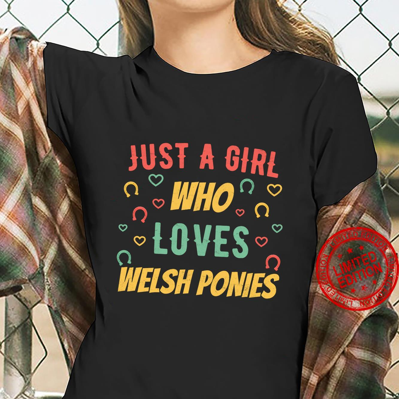 Just a Girl who Loves Welsh Ponies Distressed Horse Shirt ladies tee