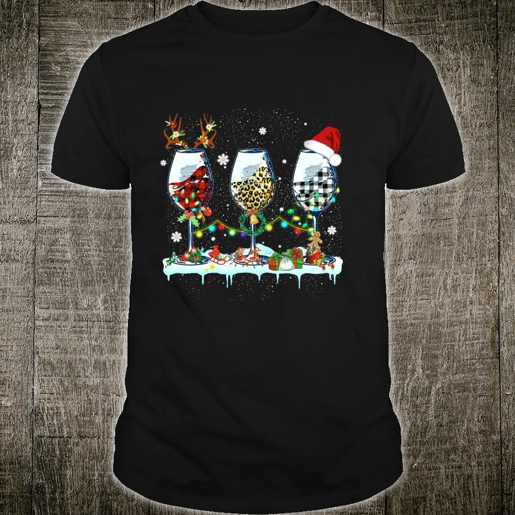 Leopard Print Three Glasses Of Wine Christmas Xmas Shirt
