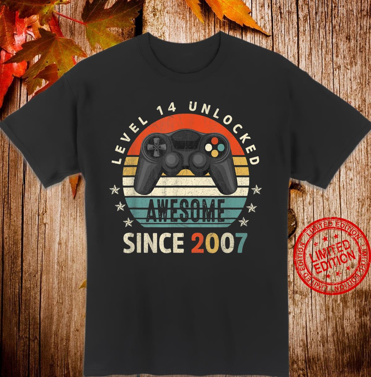 Level 14 Unlocked Awesome 2007 Video Game 14th Bday Shirt