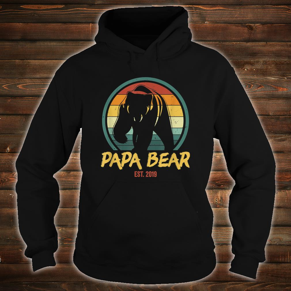 Mens Papa Bear Est. 2019 Promoted to New Papa Announcement Shirt hoodie