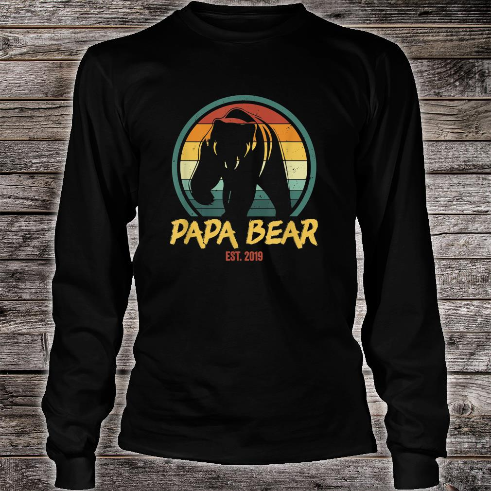 Mens Papa Bear Est. 2019 Promoted to New Papa Announcement Shirt Long sleeved