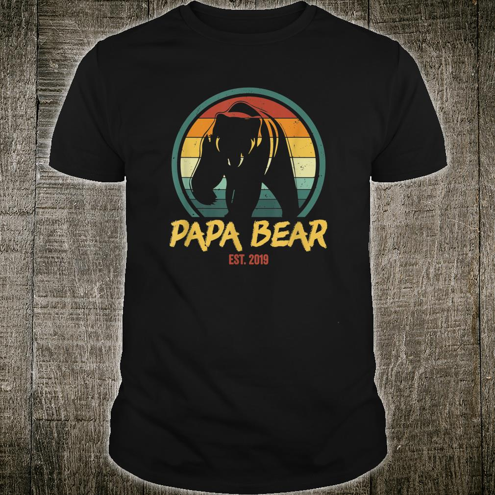 Mens Papa Bear Est. 2019 Promoted to New Papa Announcement Shirt