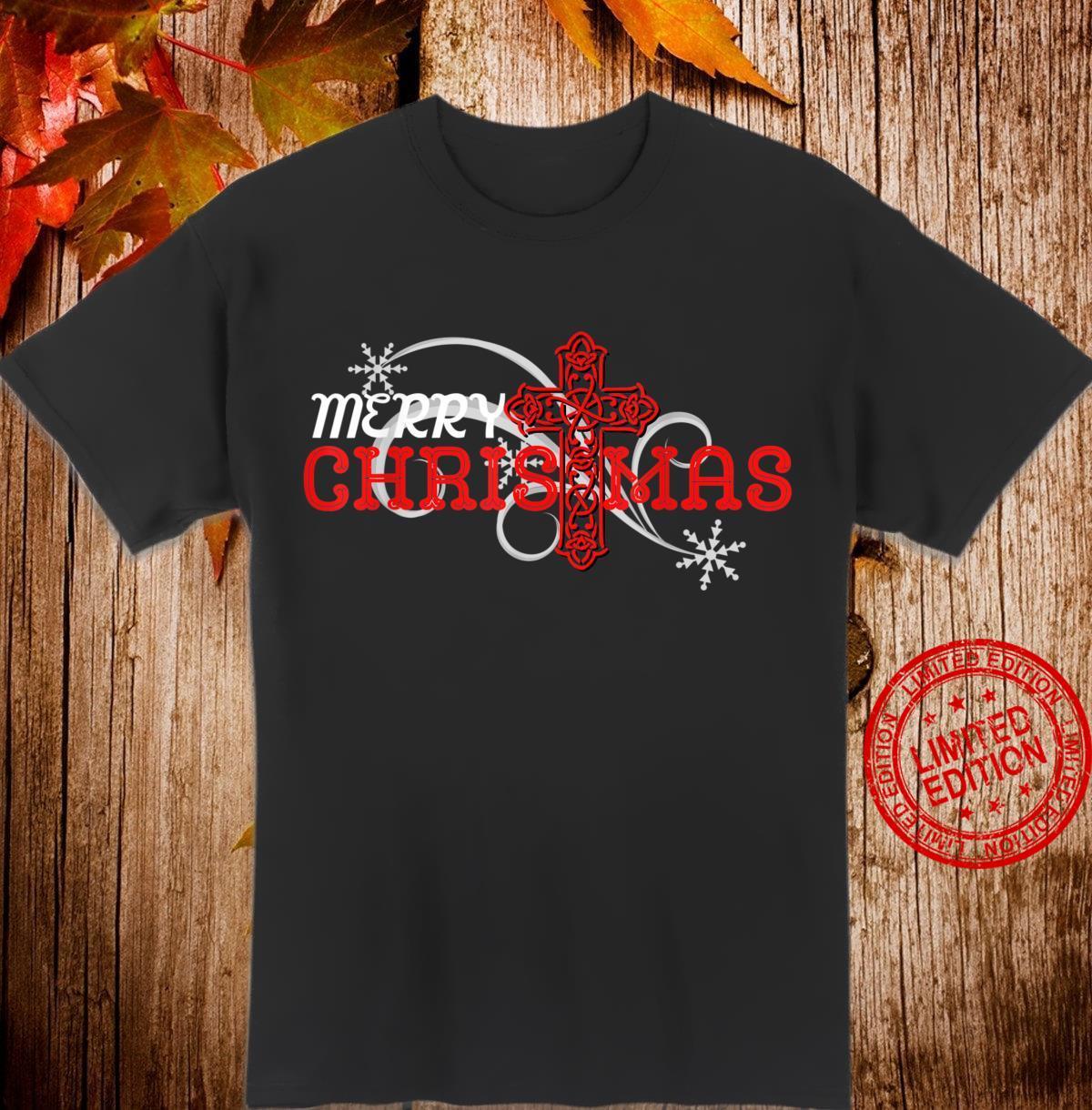 Merry Christmas Elegant Cross Blessed Inspirational Shirt