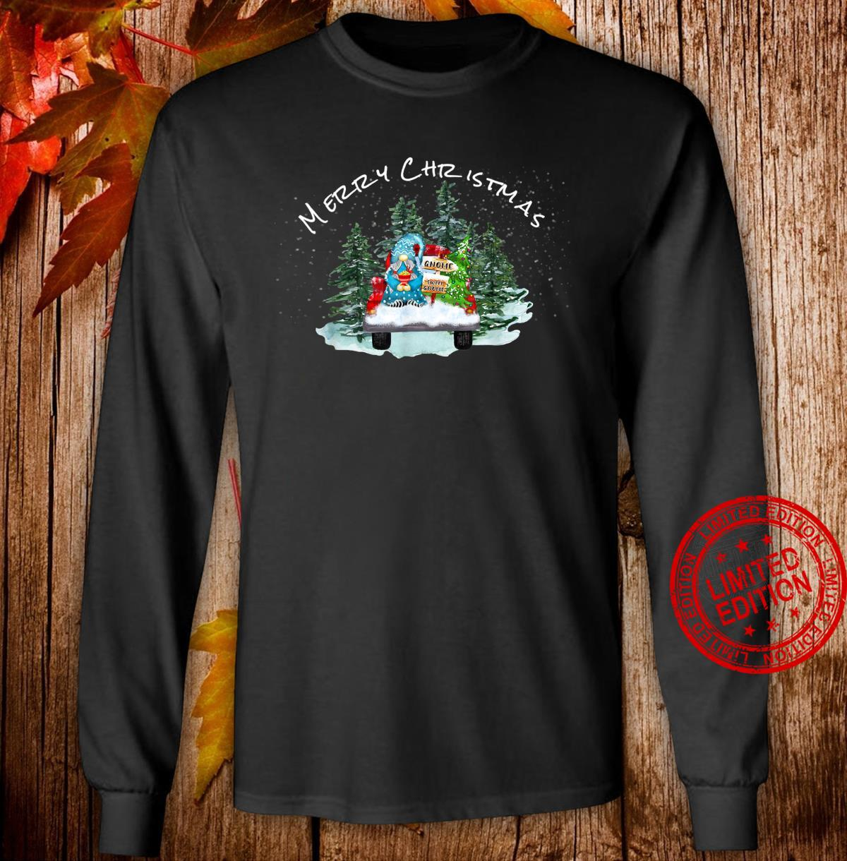 Merry Christmas Xmas Gnome Red Truck Pajamas PJ Tops Shirt long sleeved
