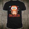 Owl Halloween Owloween pumpkin head and bats Shirt
