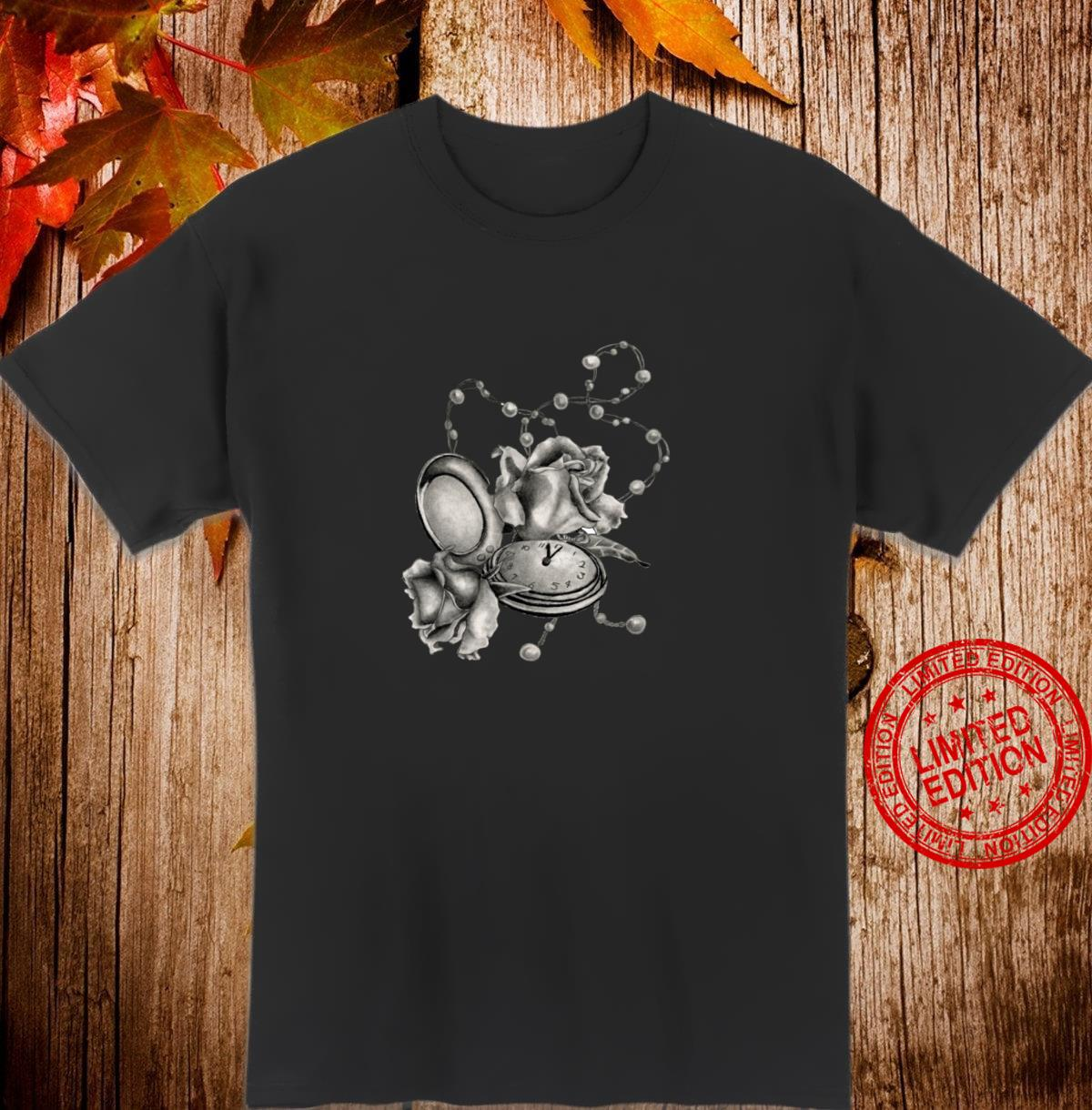 Pocket watch, roses and pearls novelty design jewelry floral Shirt