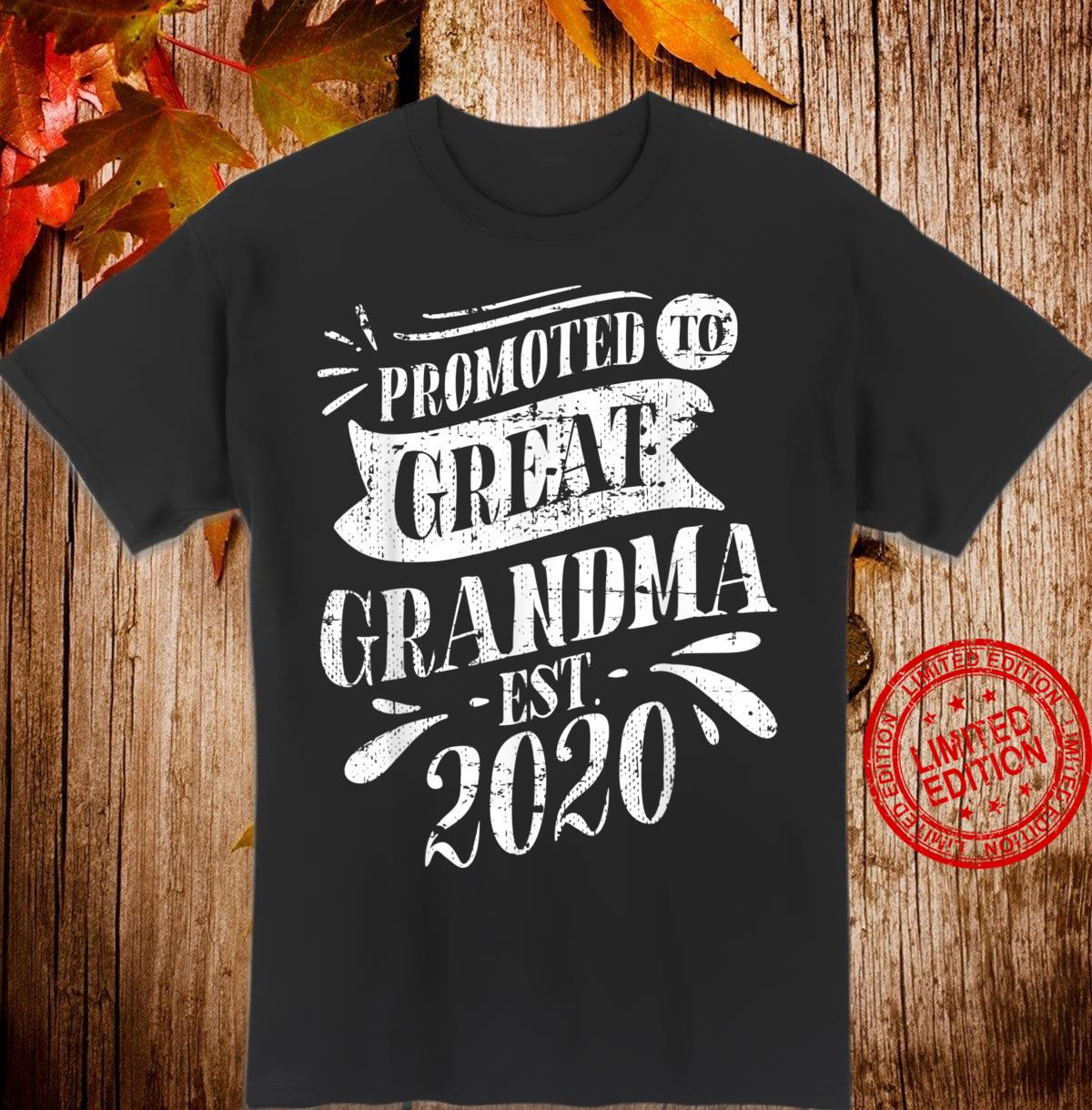 Promoted To Great Grandma Est 2020 Baby Reveal Shirt