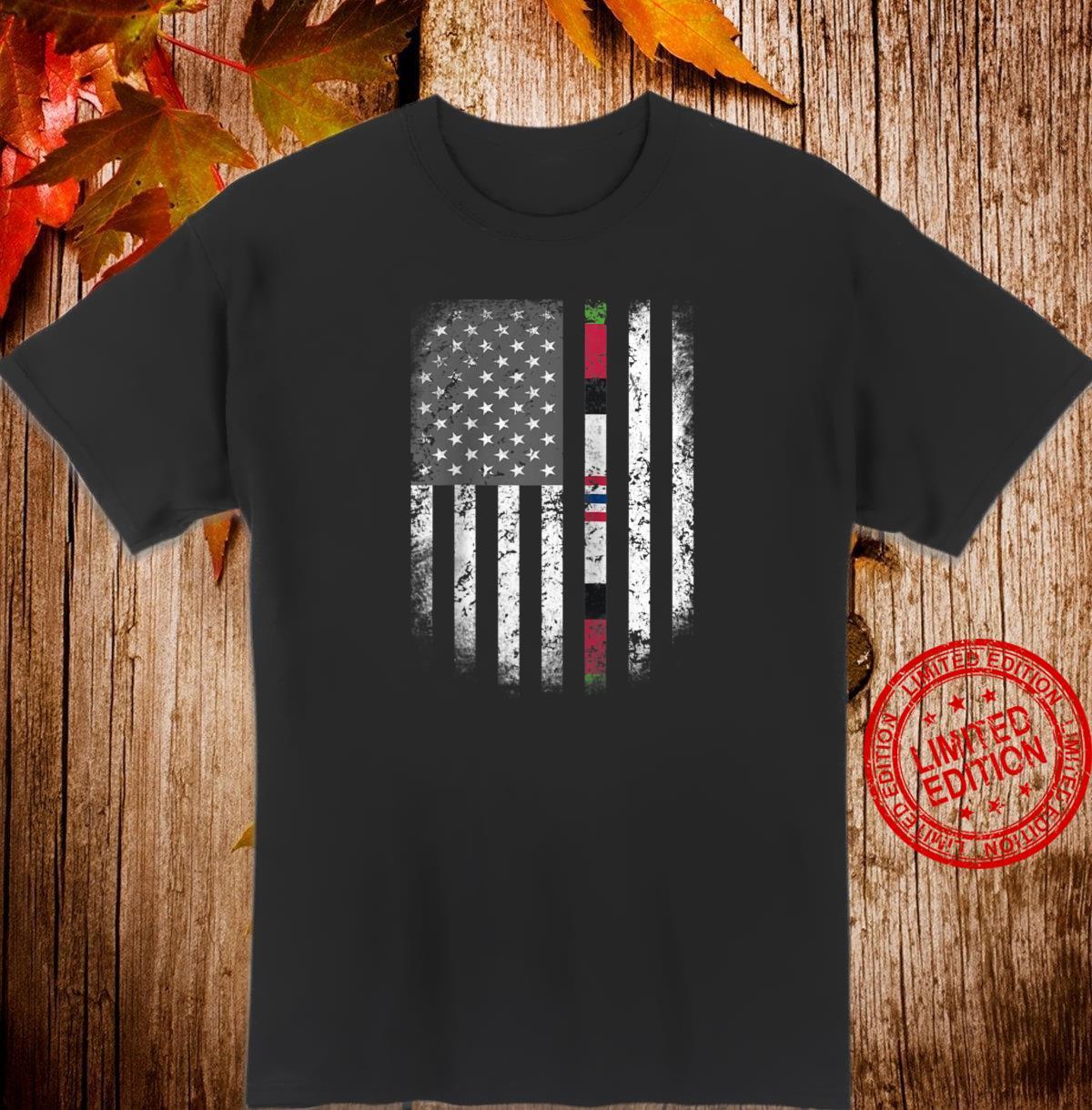 Proud Afghanistan Veteran US Flag Ribbon Dad Grandpa Shirt