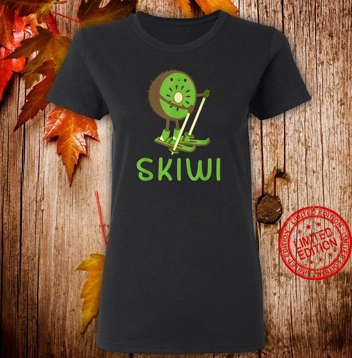 Skiwi Kiwi Ski Skier Fruit Fruits Winter Sports Apres Shirt ladies tee