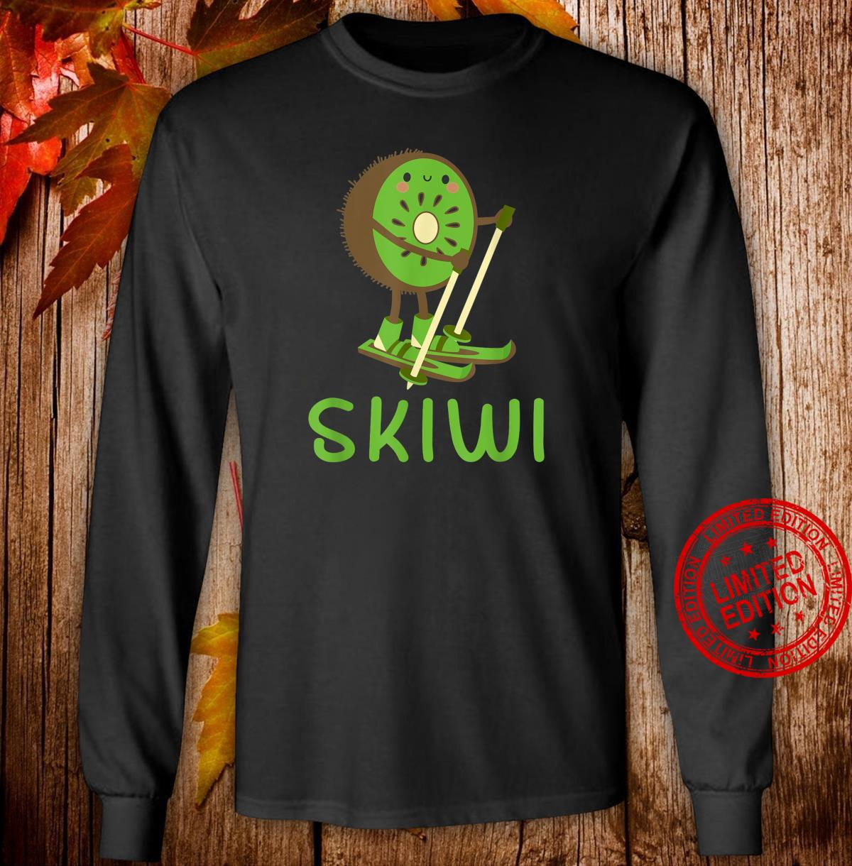 Skiwi Kiwi Ski Skier Fruit Fruits Winter Sports Apres Shirt long sleeved