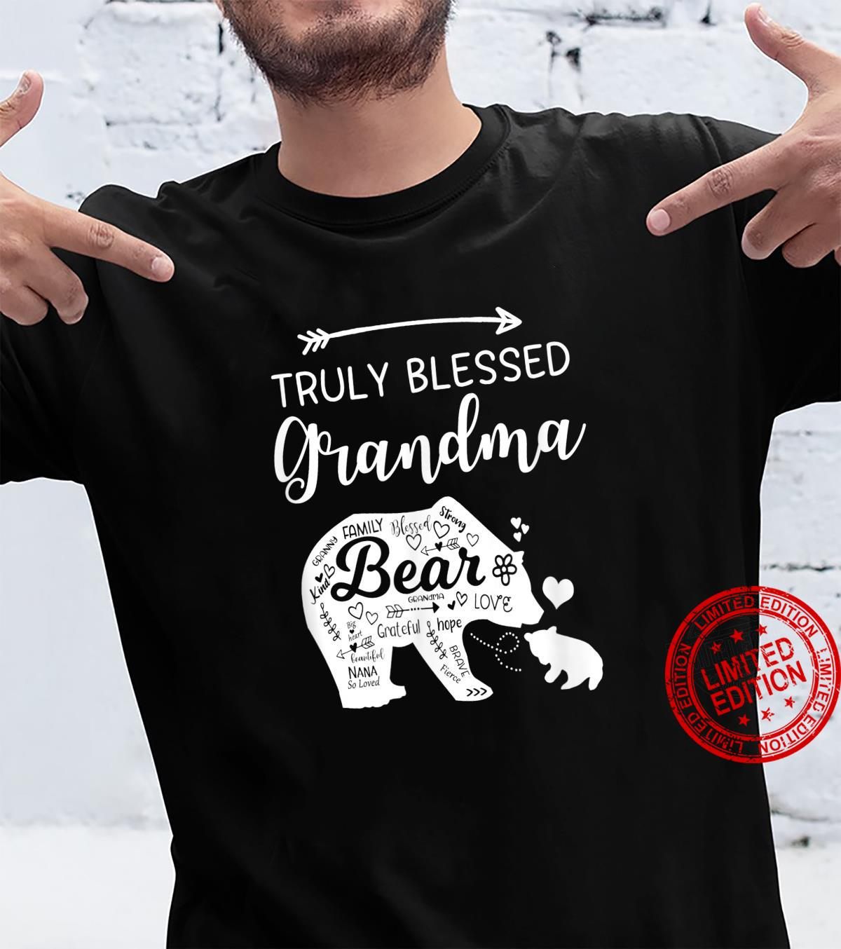 Truly Blessed Grandma Doodle Bear Words Of Love Grandmother Shirt
