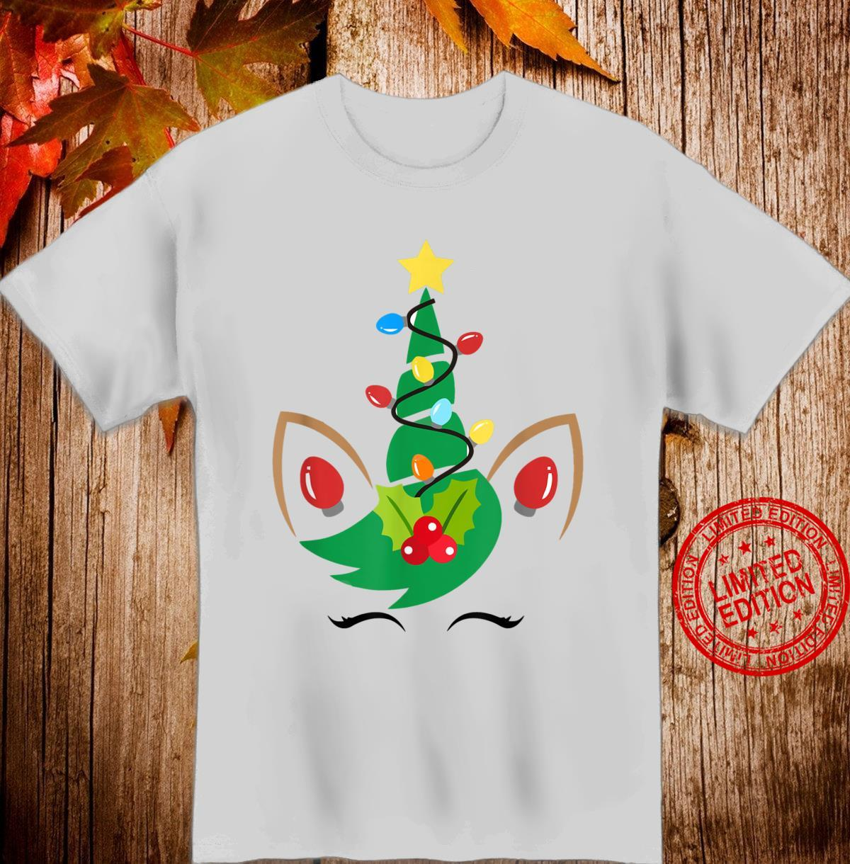 Unicorn Reindeer Face Christmas Cute Xmas Girls Shirt