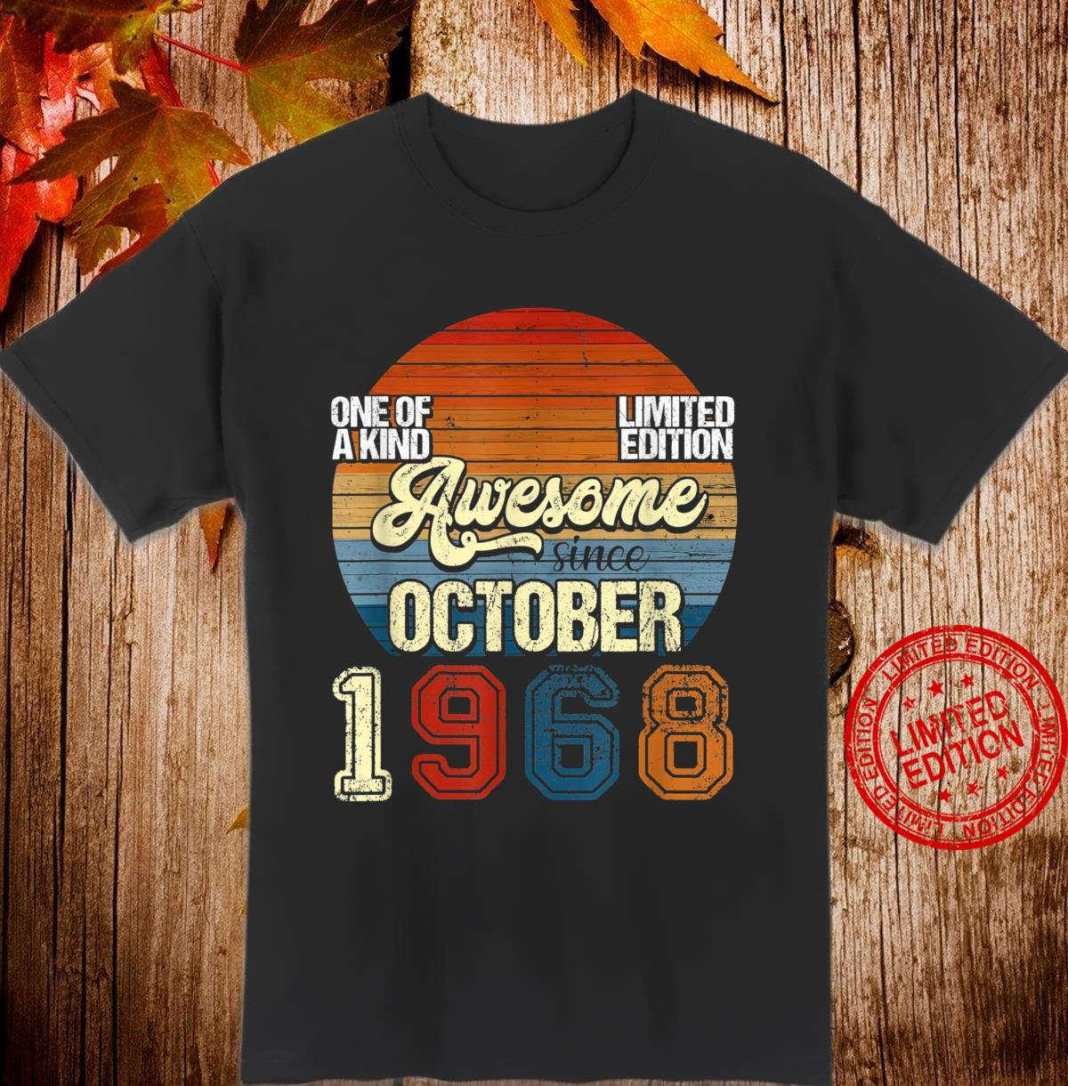 Vintage October 1968 52 Years Old 52nd Birthday Shirt