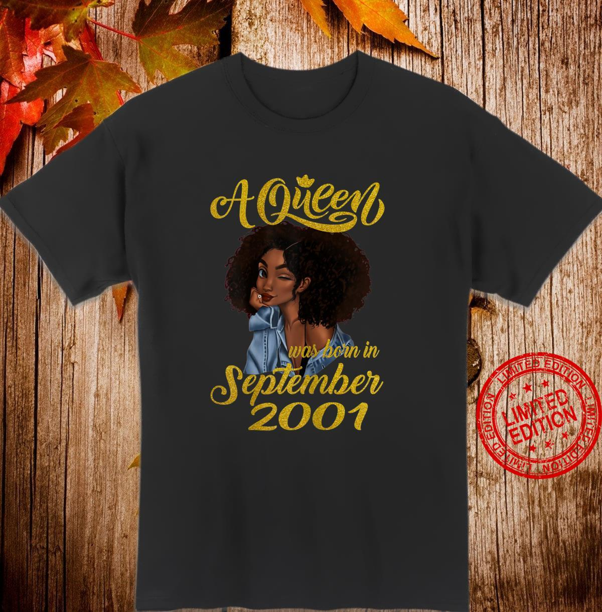 Womens A Queen Was Born in September 2001 19th Birthday Shirt