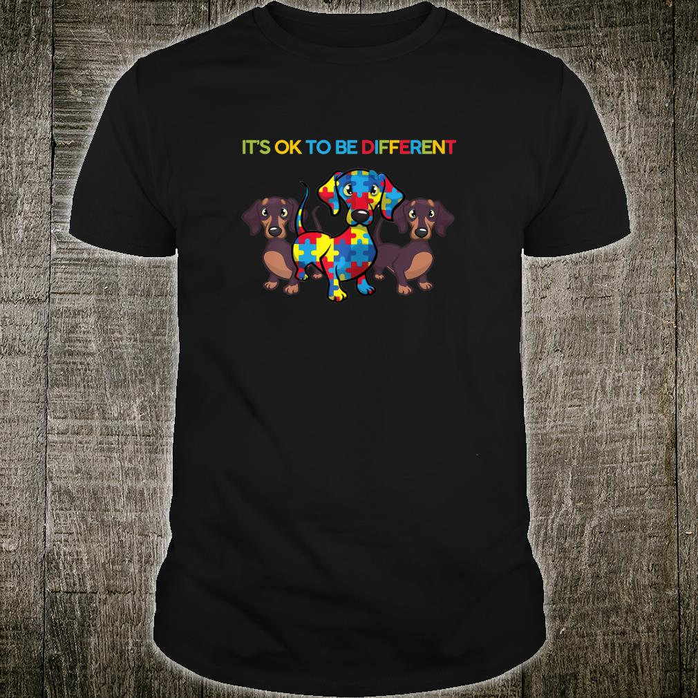 Womens It's Ok To Be Different Dachshund Autism Awareness Shirt