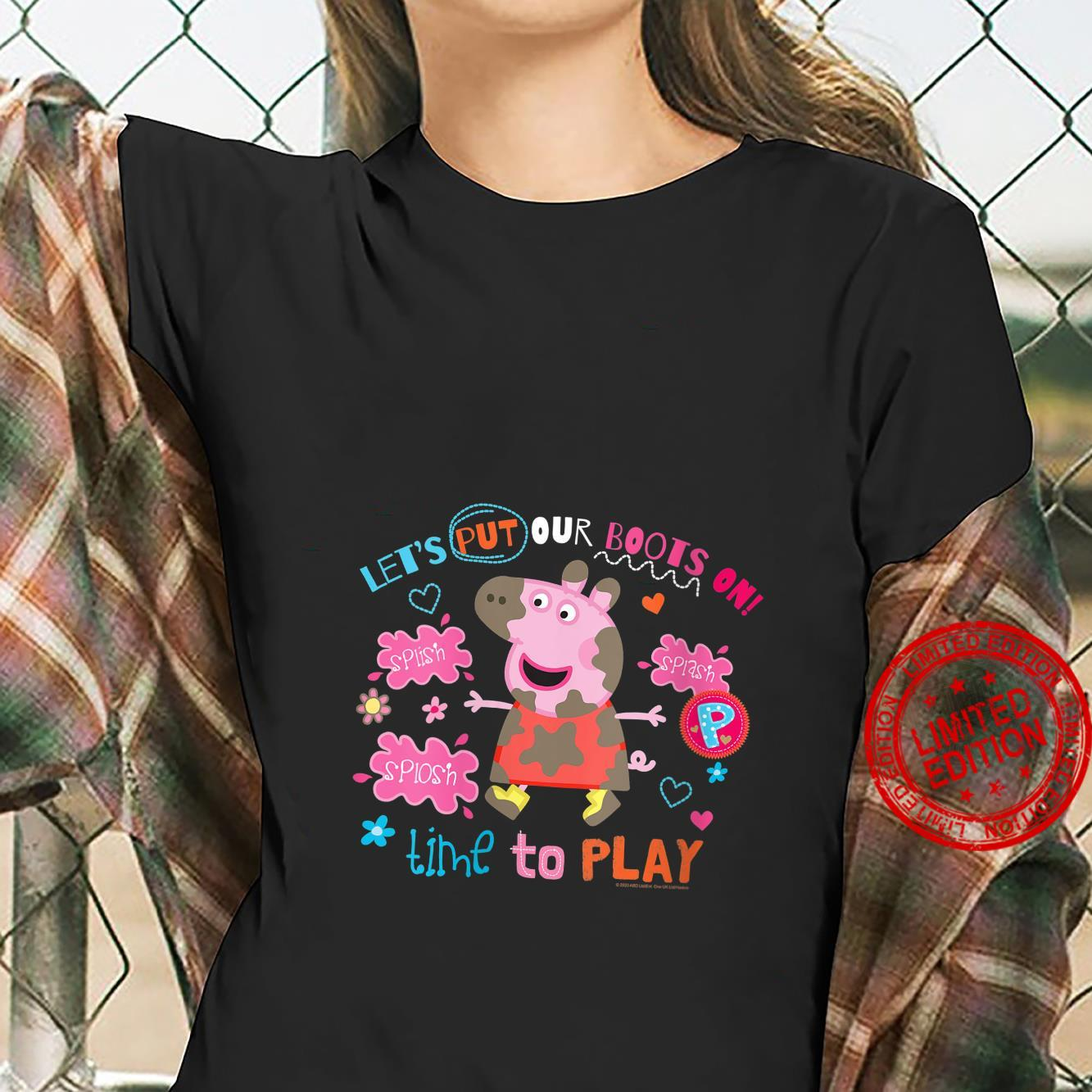 Womens Peppa Pig Boots On To Play Shirt ladies tee