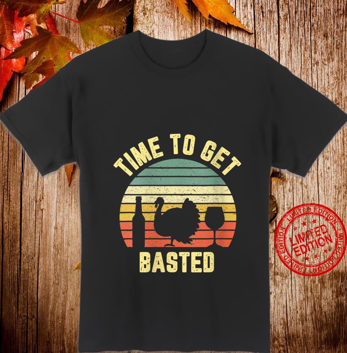 Womens Thanksgiving Retro Turkey Wine Time To Get Basted Shirt