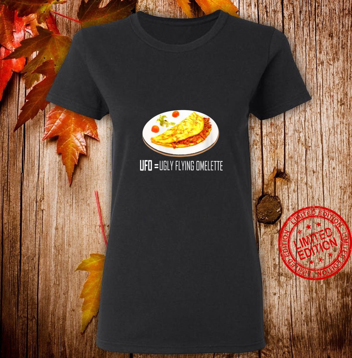 Womens UFO Ugly Flying Omelette Novelty Shirt ladies tee