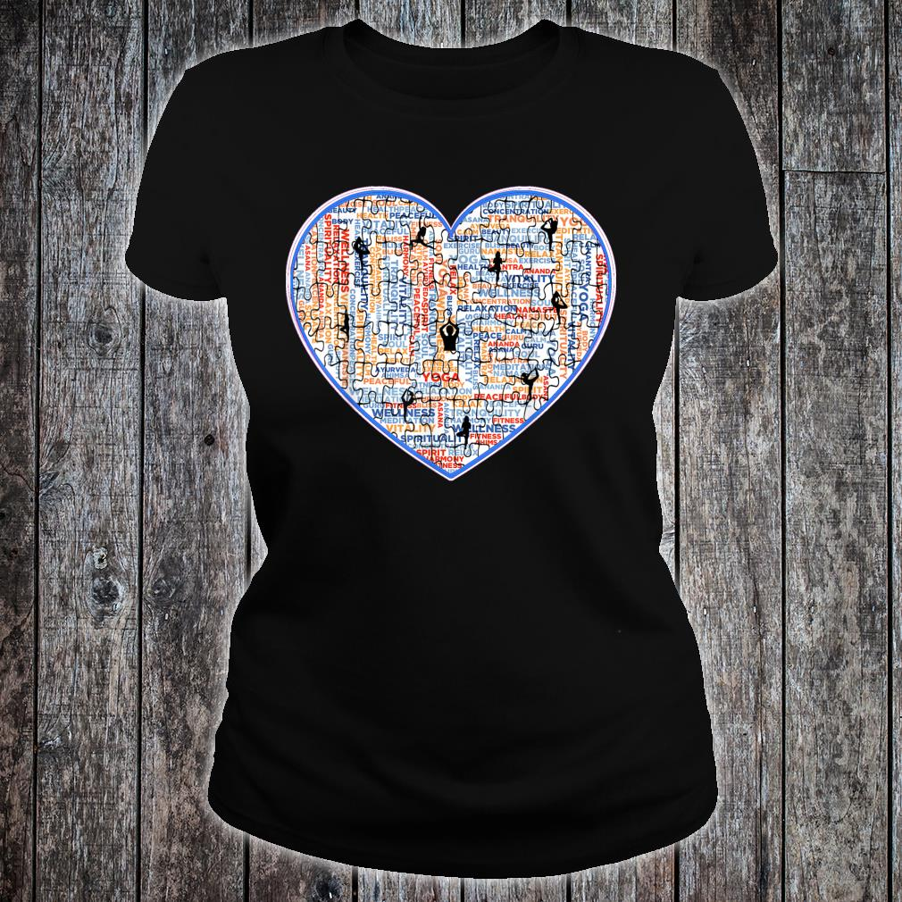 Yoga, Jigsaw Design With Cool Heart and Workout Poses. Shirt ladies tee