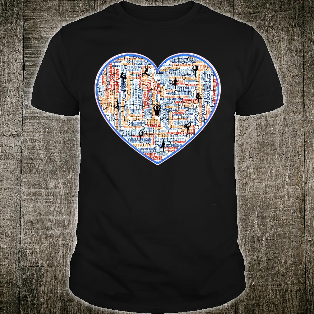 Yoga, Jigsaw Design With Cool Heart and Workout Poses. Shirt