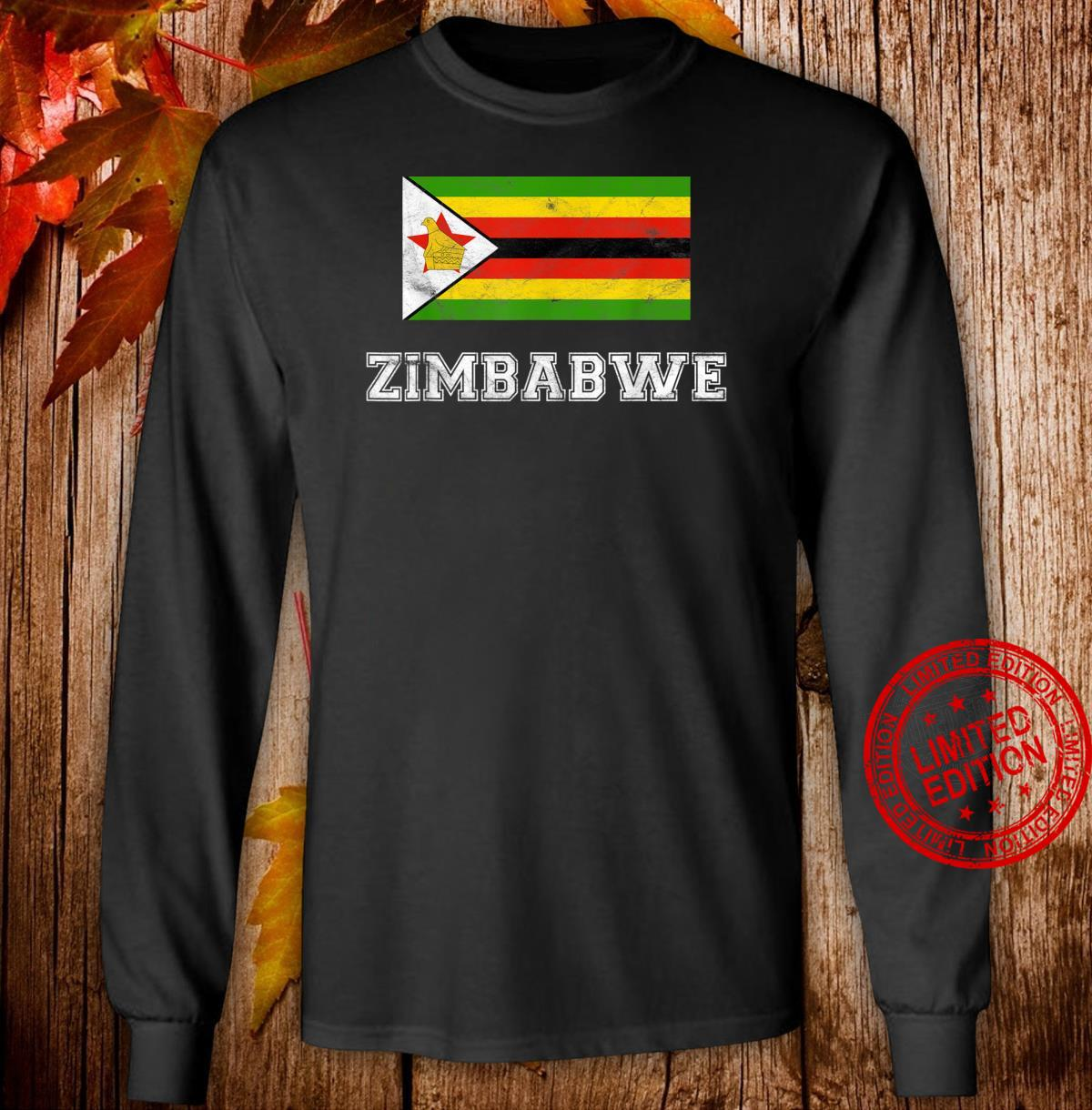 Zimbabwe Flag Vintage I Shirt long sleeved