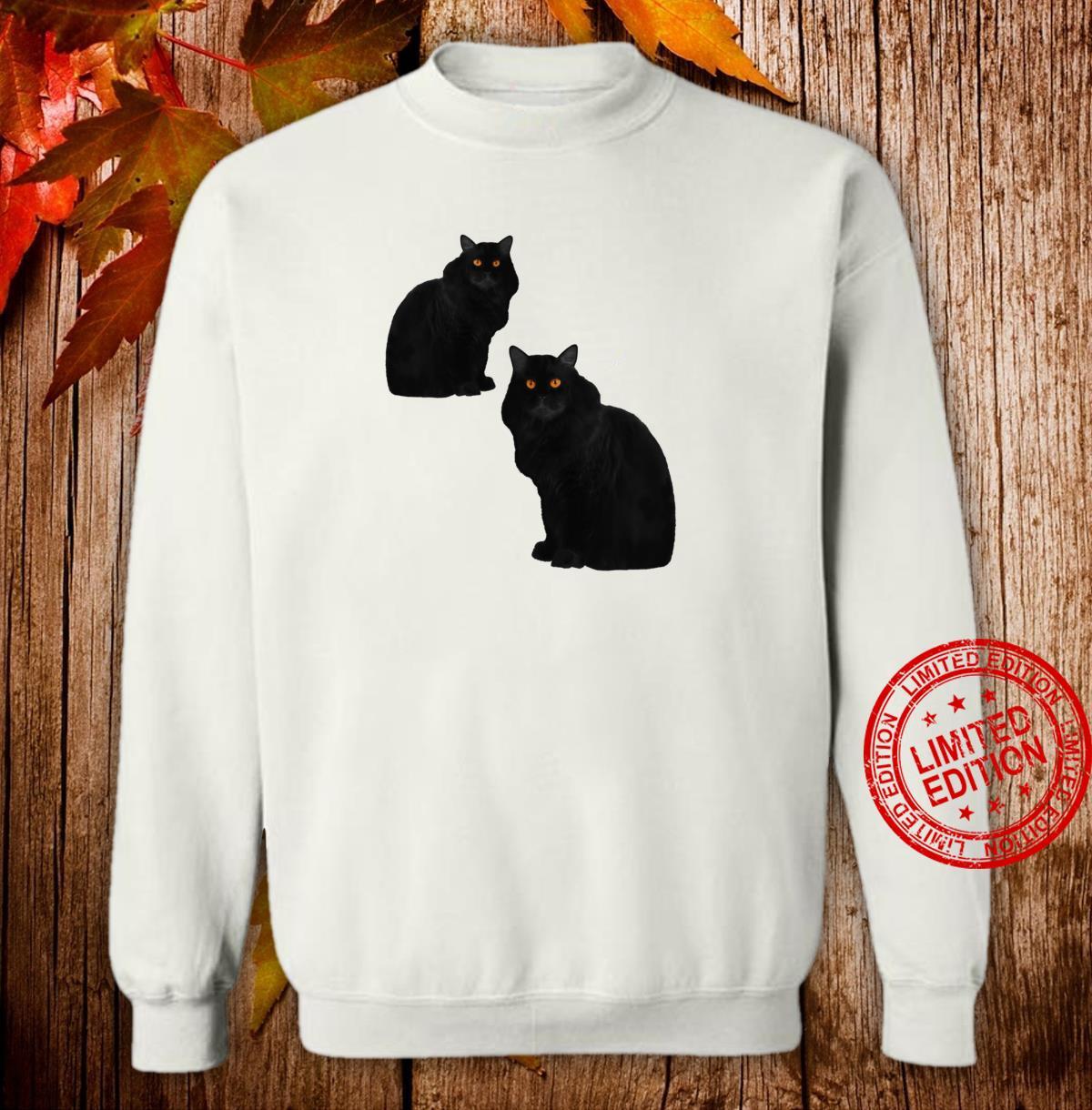 Zwei schwarze Katzen mit Bernstein Augen Shirt sweater